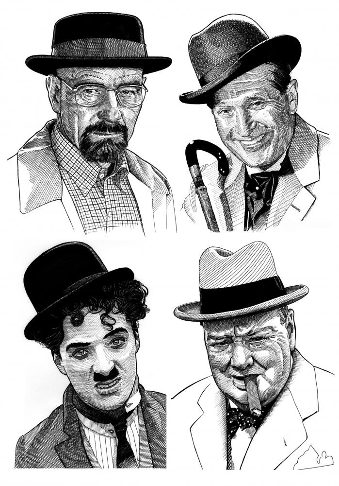 Winston Churchill, Bryan Cranston, Maurice Chevalier, Charlie Chaplin by Stefanosart